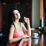 Beautiful lovely woman with a cup of coffee Royalty Free Stock Photos