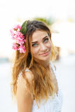 Beautiful lovely woman with flower hair accessory Stock Images