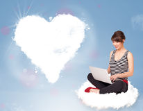 Beautiful lovely woman sitting on cloud with heart vector illustration