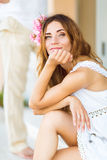 Beautiful Lovely Woman With Flower Hair Accessory Royalty Free Stock Image