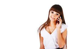 Beautiful lovely young girl with a phone Royalty Free Stock Photography