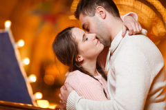 Beautiful loving couple at hall Stock Image