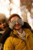 Beautiful loving couple on night Royalty Free Stock Images