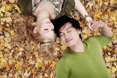 Beautiful loving couple sleep on autumn leaves Royalty Free Stock Photography