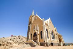 Beautiful low angle view of the protestant german colonial church Felsenkirche in Lüderitz / Luderitz in Namibia, Stock Photography
