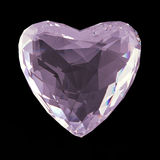 Beautiful low poly white crystal heart isolated on black background. Valentines day concept render