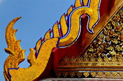 Beautiful lower finial at Thai temple stock images
