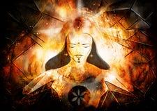 Beautiful luminous goddess of light and life in cosmic space. Beautiful luminous goddess of light and life in cosmic space Stock Photos
