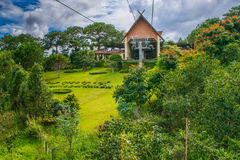 Beautiful lush gardening cable car station Royalty Free Stock Photography