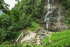 Beautiful Lush Waterfall. Mencune Waterfall, Beautiful Lush Waterfall stock image