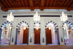 Beautiful lustres in hall of Grand Mosque in Oman Royalty Free Stock Photo