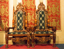 Beautiful Luxurious Medieval Wooden Seats Royalty Free Stock Photo