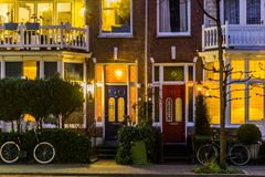 Beautiful and luxurious terraced houses in the city streets, Classic dutch Architecture stock photography