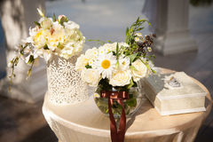 Beautiful, luxurious wedding decor of natural colors, flowers, Royalty Free Stock Photo