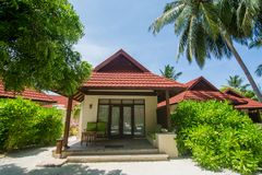 Beautiful luxury beach chalet located at the tropical resort. In Maldives Royalty Free Stock Photography