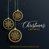 Beautiful luxury christmas background with hanging balls. Vector stock illustration