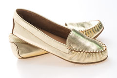 Beautiful luxury fashion golden woman shoes Royalty Free Stock Images