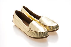Beautiful luxury fashion golden woman shoes Royalty Free Stock Image