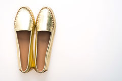 Beautiful luxury fashion golden woman shoes Royalty Free Stock Photo