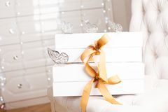 Beautiful luxury gift box with ribbon. Stock Images