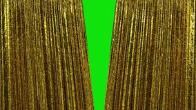Beautiful Luxury Gold Curtains, Opening and closing 3d animation. HD 1080. Green Screen.