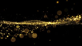Beautiful Luxury Golden Particles Moving Seamless with Bokeh Blur. Looped 3d Animation in Slow Motion. HD 1080 royalty free illustration