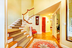 Beautiful luxury home entrance hallway with large staurcase and Royalty Free Stock Image
