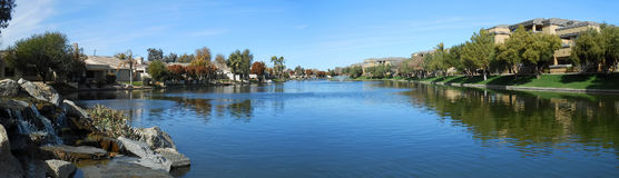 Luxury Lake Homes Panorama Royalty Free Stock Image