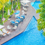 Beautiful luxury hotel swimming pool resort Royalty Free Stock Photography