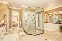 Beautiful luxury marble bathroom interior in beige color Stock Photo