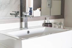 Beautiful luxury sink decoration in bathroom interior for backgr Royalty Free Stock Photos