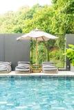 Beautiful luxury swimming pool in hotel pool resort Royalty Free Stock Image