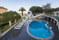 Beautiful luxury swimming pool in an hotel resort. Costa Brava, Spain Stock Image