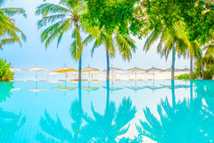 Beautiful luxury swimming pool. In hotel pool resort with umbrella beach and chair - Vintage Filter and Boost up color Processing Royalty Free Stock Images