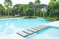 Beautiful luxury swimming pool with palm tree Stock Image