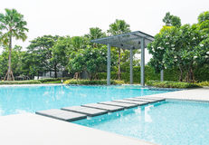 Beautiful luxury swimming pool with palm tree Royalty Free Stock Image