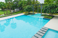 Beautiful luxury swimming pool with palm tree Royalty Free Stock Photos