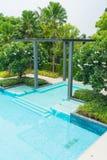 Beautiful luxury swimming pool with palm tree Stock Photos