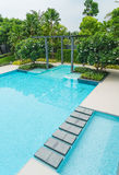 Beautiful luxury swimming pool with palm tree Royalty Free Stock Images