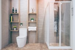 Beautiful luxury vintage empty bathtub Freestanding white bath. Bathroom is beautifully stock image