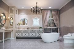 Beautiful luxury vintage empty bathtub  Freestanding white bath. Bathroom is beautifully decorated with wooden tiles and electric lamps stock photo