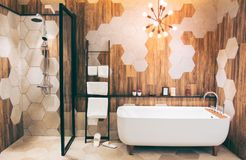 Beautiful luxury vintage empty bathtub near big window in bathroom interio, free space. stock image