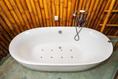 Beautiful luxury white bathtub decoration in bathroom stock photo