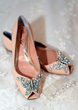 Beautiful luxury white wedding shoes Stock Photography