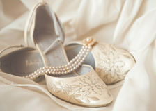 Beautiful luxury white wedding shoes Stock Photos