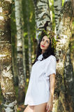 Beautiful luxury woman in shirt standing near the birches Stock Images