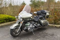 A beautiful luxury Yamaha Venture tourer motorcycle  parked at the Kildare Village shopping precinct in County Kildare  Ireland. Beautiful engineering on Royalty Free Stock Photo