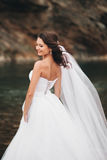 Beautiful luxury young bride in long white wedding dress and veil standing near river with mountains on background Royalty Free Stock Images