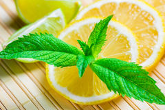 Beautiful macro shot of lemon and mint Stock Photography
