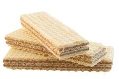 Beautiful macro of three hazelnuts wafer stock images
